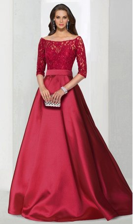 Chic A-line off the shoulder lace and satin zipper back regular straps sleeve floor-length Dress Gown