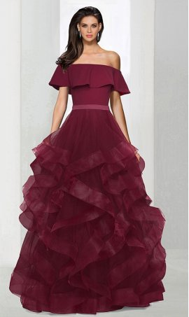 Chic A-line off the shoulder jersey tulle ruffle zipper back regular straps cap sleeve floor-length Dress Gown