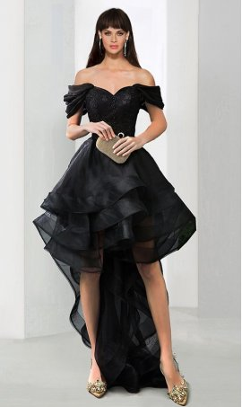 Chic A-line off The shoulder beaded lace applique high-low skirt Prom Formal Evening Dress Gown