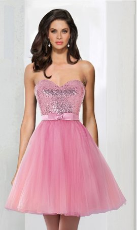 Chic A-line sweetheart tulle sequins ruffle short Prom Formal Evening Dress Gown