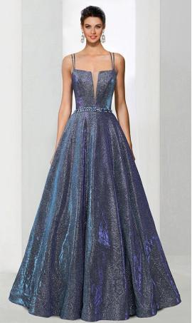 Chic A-line v neck tow tone woven shimmer beaded open back zipper back spaghetti strap sleeveless floor-length Dress Gown