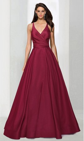 Chic A-line v neck satin ruffle open back zipper back spaghetti strap sleeveless floor-length Dress Gown