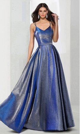 Chic A-line v neck two tone woven shimmer open back zipper back spaghetti straps sleeveless floor-length Dress Gown