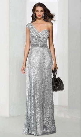 Chic one shoulder sequins open back zipper back floor-length bridesmaid prom formal evening Dress Gown