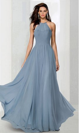 Flawless ruched halter high neck a line chiffon bridesmaid prom formal evening Dress Gown