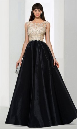 Flawless a-line Illusion neck satin beaded lace applique floor length Dress Gown