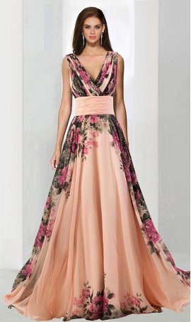 Flawless a-line V Neck chiffon floor-length ruffle sleeveless lace-up back formal Dress Gown