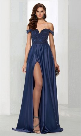 Flawless a-line off the shoulder floor-length satin and lace high slit split zipper back sleeveless Prom Formal Evening Dress Gown