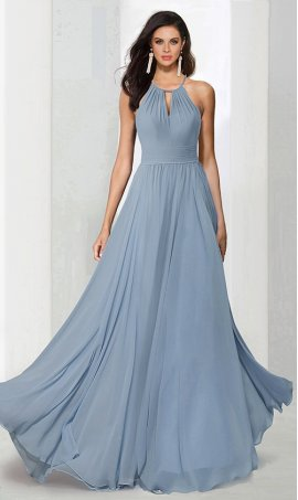 dramatichalter high neck floor length chiffon bridesmaid prom formal evening Dress Gown