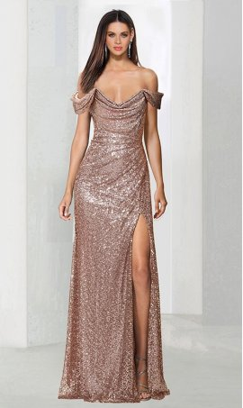 Flawless off the shoulder high thigh slit sequin prom formal evening pegeant Dress Gown