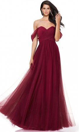 Chic Sweetheart Off The Shoulder Floor Length Long Soft Tulle Prom Formal Evening Bridesmaid Dress Gown