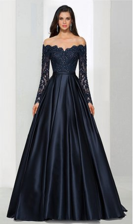 Flawless a-line off the shoulder floor-length satin beaded lace applique sleeve Prom Formal Evening Dress Gown