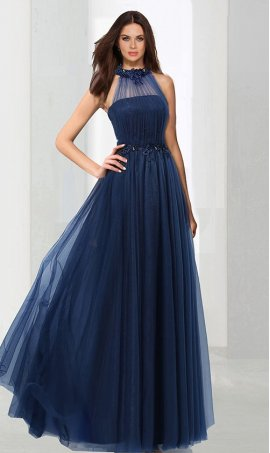 Chic Firty a-line halter neck floor-length tulle beaded lace applique sleeveless Prom Formal Evening Dress Gown