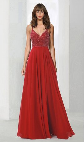 Chic Fit and flare v neck chiffon beaded zipper back spaghetti strap sleeveless floor-length Dress Gown
