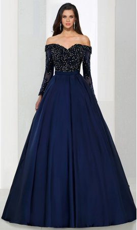 Chic Flirty a-line off the shoulder floor-length satin beaded lace applique sleeve Prom Formal Evening Dress Gown
