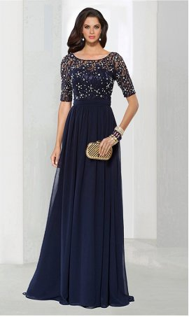 Chic Flirty a-line Square Neck floor-length chiffon beaded lace applique sleeve Prom Formal Evening Dress Gown