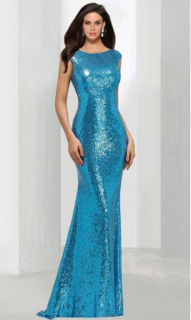Chic Flirty mermaid square neck floor-length sequined beaded sleeveless Prom Formal Evening Dress Gown