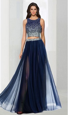 Chic Flirty two Piece square neck floor-length sequined beaded sleeveless Prom Formal Evening Dress Gown