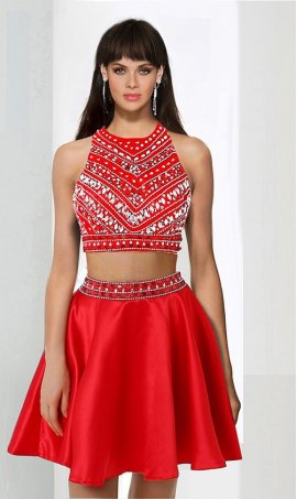 Chic High Neck beaded regular straps two piece sleeveless zipper up short Dress Gown
