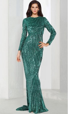 Chic High Neck equins long sleeve floor length mermaid prom formal evening Dress Gown
