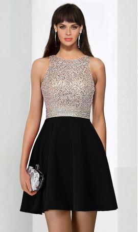Chic High neck beaded satin sleeveless short Sequins Dress Gown