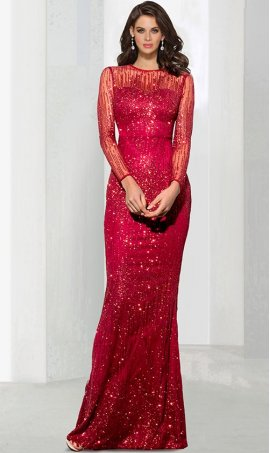 Chic Illusion Neck Elastic Fabric long sleeve floor length mermaid prom formal evening Dress Gown