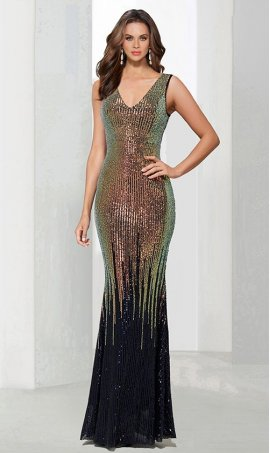 Chic Mermaid V Neck multi-colored sequins sleeveless sequined zipper back Dress Gown