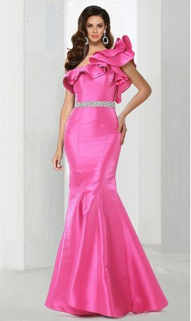 Chic Mermaid one shoulder satin beaded open back zipper back regular straps flutter sleeves floor-length Dress Gown