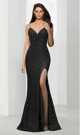 Chic Mermaid v neck sequin ruffle spaghetti strap sleeveless zipper back floor-length Dress Gown
