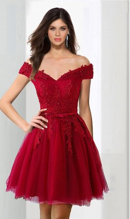 Chic Off the shoulder beaded lace applique tulle straps sleeveless short Dress Gown