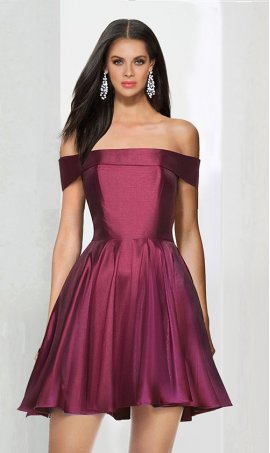 Chic Off the shoulder strechy satin ruffle regular straps cap sleeve zipper up short Dress Gown