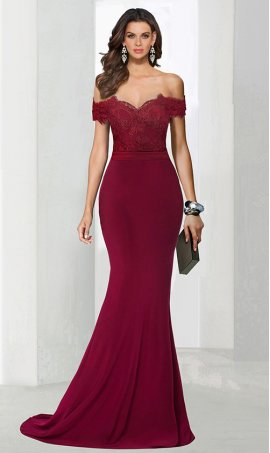 Chic Off the shoulder lace applique jersey cap sleeve floor length mermaid prom formal evening Dress Gown