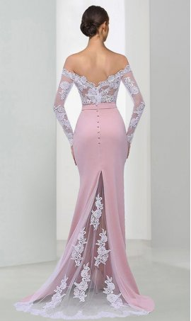 Chic Off the shoulder lace applique jersey floor length long sleeve mermaid prom formal evening Dress Gown