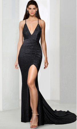 Chic Plunging Neck sequins high slit split and open back floor length mermaid prom formal evening Dress Gown