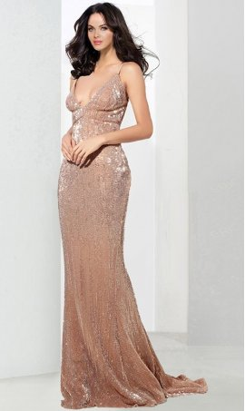 Chic Plunging neck Glittering knit sleeveless spaghetti strap open back floor length Mermaid prom formal evening Dress Gown