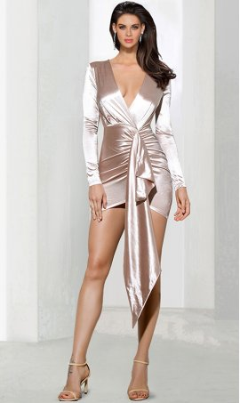 Chic Plunging neck satin long sleeve ruffle zipper back short Dress Gown