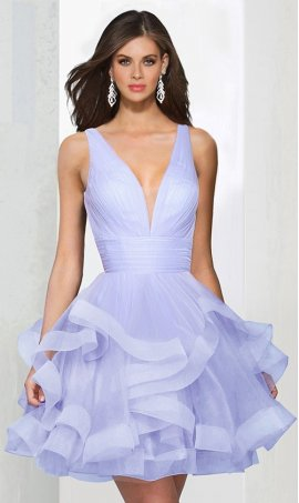 Chic plunging v neck ruffle tiered tulle short prom homecoming cocktail party Dress Gown