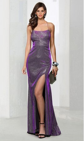 Flawless square neckline spaghetti straps open back floor length high slit glitter jersey prom formal Dress Gown
