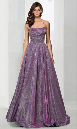 Chic Square neck glitter jersey spaghetti strap open back floor length a-line ball Dress Gown prom quinceanera Dress Gown