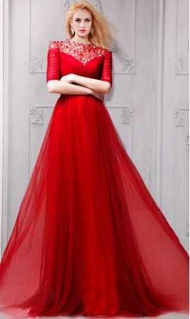 Alluring Beaded Crew Neck Half Sleeve Floor Length Dress Gown