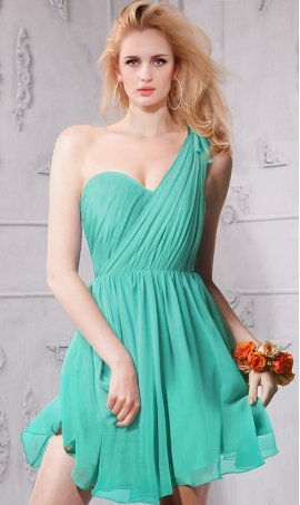 Alluring Sweetheart one shoulder short Chiffon Dress Gown