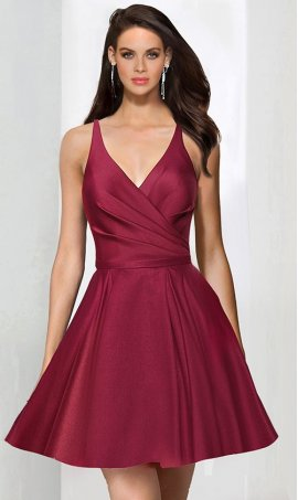 Chic V Neck satin ruffle open back spaghetti strap sleeveless zipper up short Dress Gown