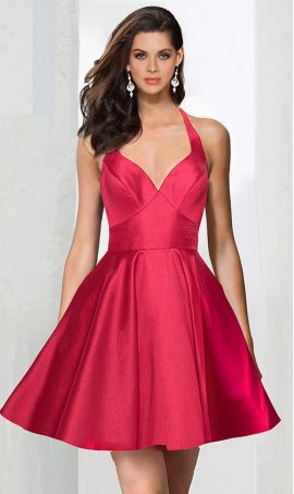 Chic V Neck satin ruffle open back sleeveless spaghetti strap zipper up short Dress Gown