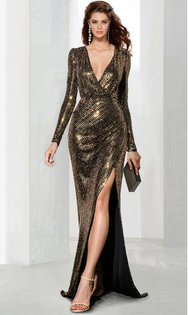 Chic V Neck satin long sleeve high slit split and sequins floor length fit and flare evening Dress Gown