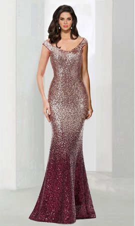 Glittering off the shoulder champagne gold ombre sequin mermaid trumpet Dress Gown