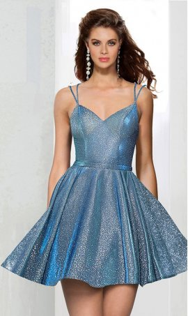 Flawless v neck spaghetti strap glitter satin short prom homecoming party cocktail Dress Gown