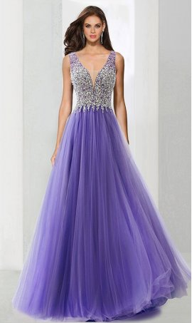 Charming beaded sheer illusion plunging v neck tulle ball Dress Gown Prom Formal Evening Dress Gown