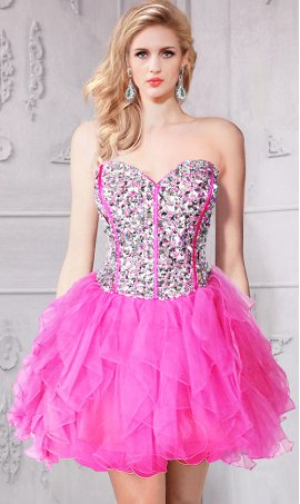 Chic absolutely gorgeous beaded sweetheart hot pink short prom homecoming Dress Gown