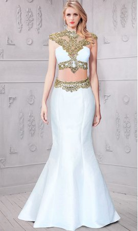 Chic absolutely stunning beaded sheer illuision racer back two piece taffeta mermaid Dress Gown