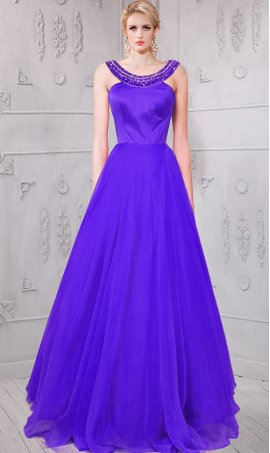 Charming beaded high neck satin chiffon Prom Formal Evening Dress Gown